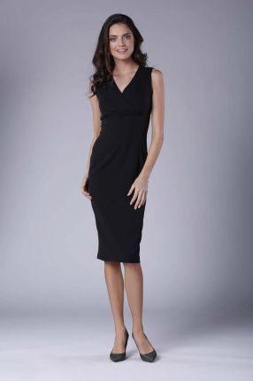 a063348214 Nommo Czarna Ołówkowa Sukienka Midi bez Rękawów z Kopertowym Dekoltem