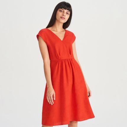 d3c5074f9c Reserved - Lniana sukienka - Czerwony ...