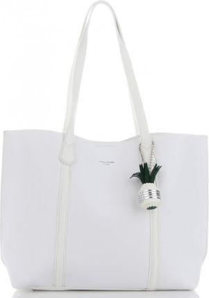 f093cf17c4291 Uniwersalne Torebki Damskie na co dzień Shopper XL z kosmetyczką marki David  Jones Białe (kolory