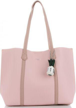 f0daed09f9780 Uniwersalne Torebki Damskie w rozmiarze XL na co dzień z kosmetyczką marki  David Jones Różowe ...