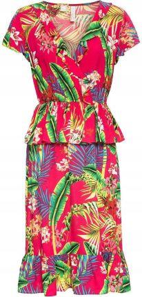 0328d867fd Sukienka z falbaną różowy 44 XXL 941397 bonprix Allegro