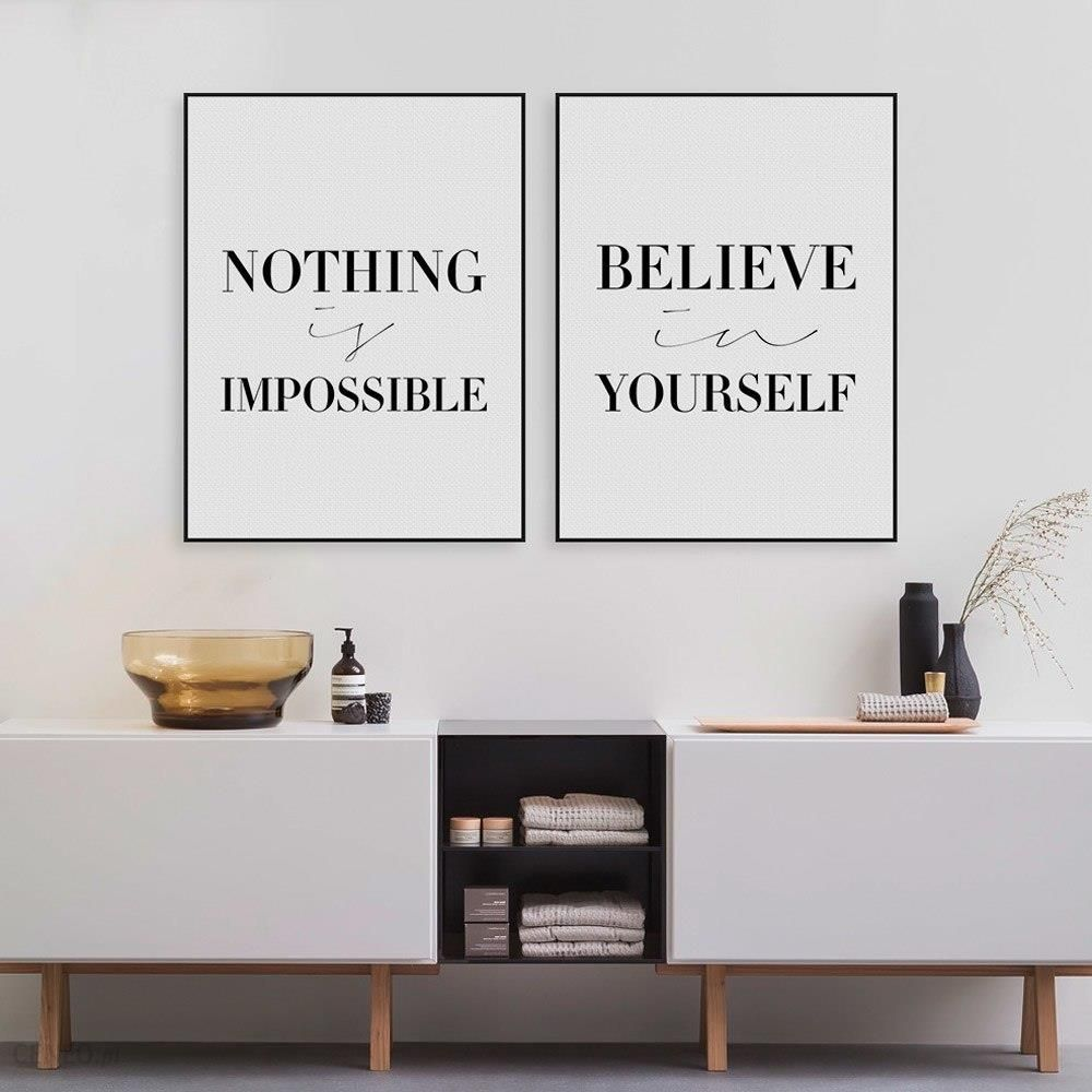 Aliexpress Czarny Minimalistyczny Motywacyjne Typografii Wierzyć Cytaty Reprodukcja Plakat Na ścianę Obraz Płótnie Malarstwo Living Room Decor Bez
