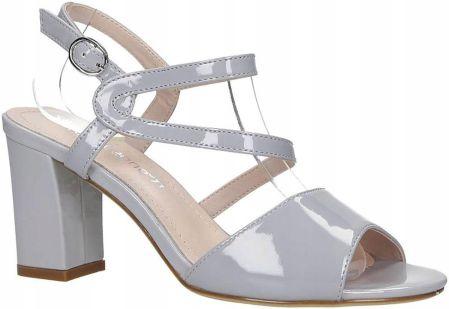 3a46d5a946a1a5 Srebrne sandały szpilki wieczorowe skórzane Casu CAS002 - Ceny i ...