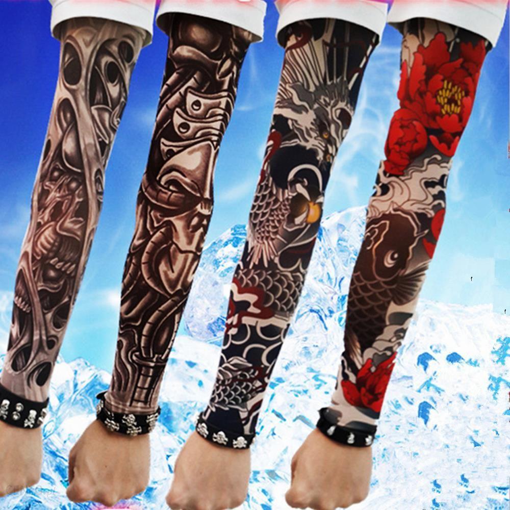Aliexpress Z Długim Rękawem Fałszywy Tatuaż Clibe Rower Plaży łazienkowe Ramię Mankiet Czaszkikwiatypająk Rękaw Pokrywa Uv Słońce Ochrona Now
