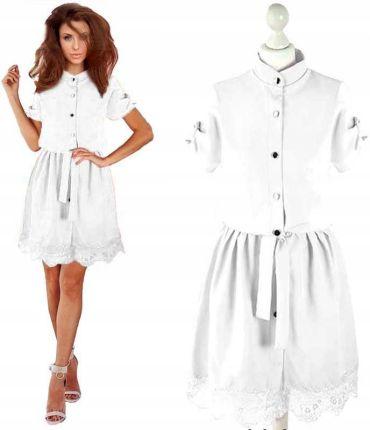 18acd0f6e8 Długa sukienka z koronką biały 46 3XL 913501 - Ceny i opinie - Ceneo.pl