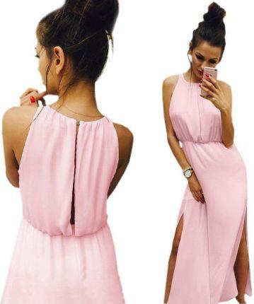 da43c84b10 Sukienka Maxi Długa Lato Bloggerska Szyfon P886 Allegro