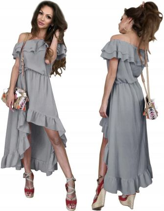 2bdffc984 Sukienka Asymetryczna Hiszpanka Falbany Maxi PA185 Allegro