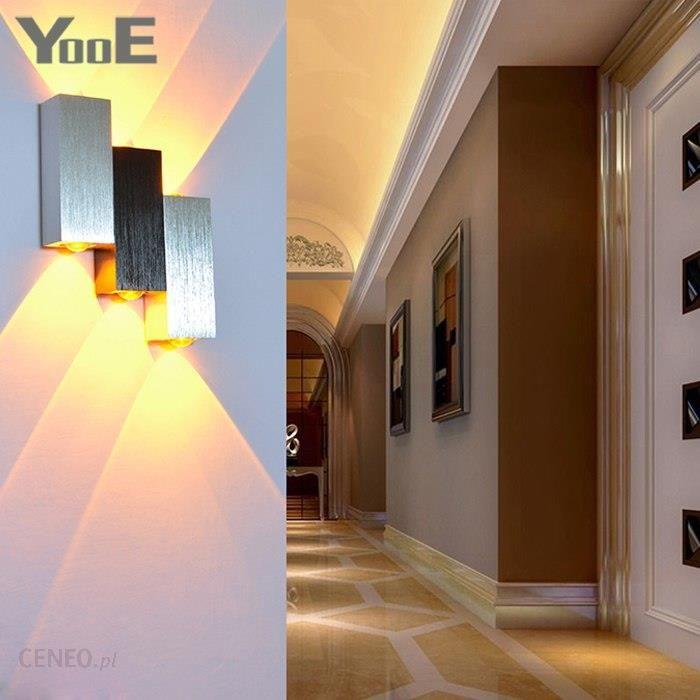 Aliexpress Yooe Oświetlenie Wewnętrzne 6 W Led Kinkiet Ac100v220 V Aluminium Udekorować ściany Korytarza Schody Sypialnia ściana światło Ceneopl