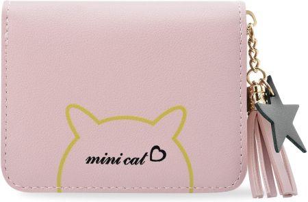 bcc9c5c789870 Zgrabny portfel damski rockowa portmonetka na zamek mały portfelik z  breloczkiem print kotek - różowy
