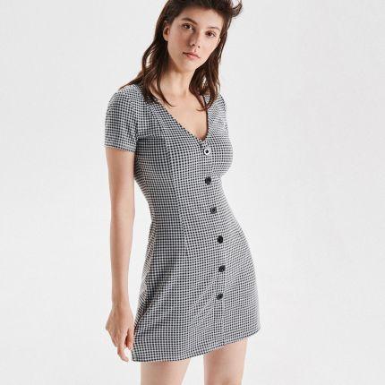 9b4fe052b6 Cropp - Sukienka mini z guzikami - Czarny ...