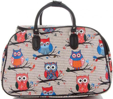 949cfcad1566c Modne Duże torby podróżne kuferki w sowy włoskiej marki Or Mi Multikolorowe  Beżowe ...