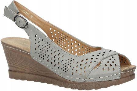 26f33879 Beżowe sandały z kokardą na koturnie peep toe z odkrytymi palcami i ...