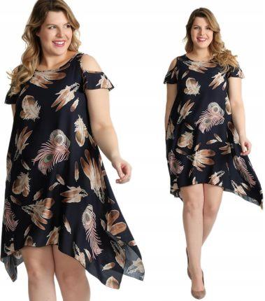 61334db8d9 Luźna sukienka z nadrukiem Size Plus I17 W3 44 Allegro