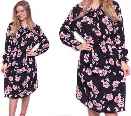 2e8cd27251 Elegancka Zwiewna Sukienka MIDI Kwiaty XL XXL R336 Allegro