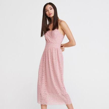 10cca6d7ab Reserved - Koronkowa sukienka midi - Różowy ...