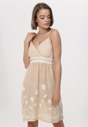 c95804bf94 Podobne produkty do Letnia asymetryczna sukienka z lejącej dzianiny  niebieska T137. Beżowa Sukienka Besit born2be