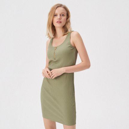 e31ea61b2e Sinsay - Sukienka na ramiączkach z zamkiem - Zielony ...