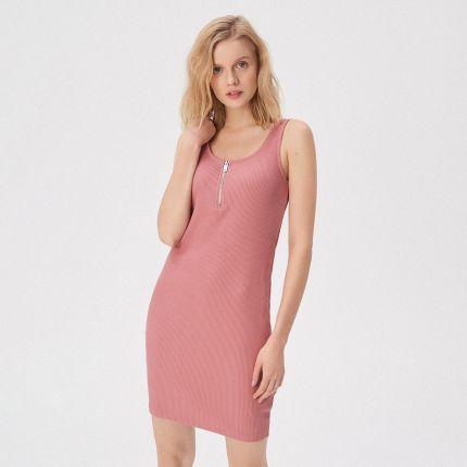 a9321d5534 Sinsay - Sukienka na ramiączkach z zamkiem - Różowy ...
