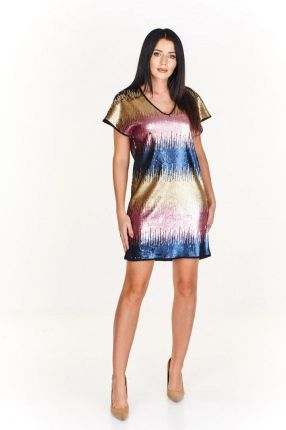 4f370f0685 Cekinowa wielokolorowa sukienka