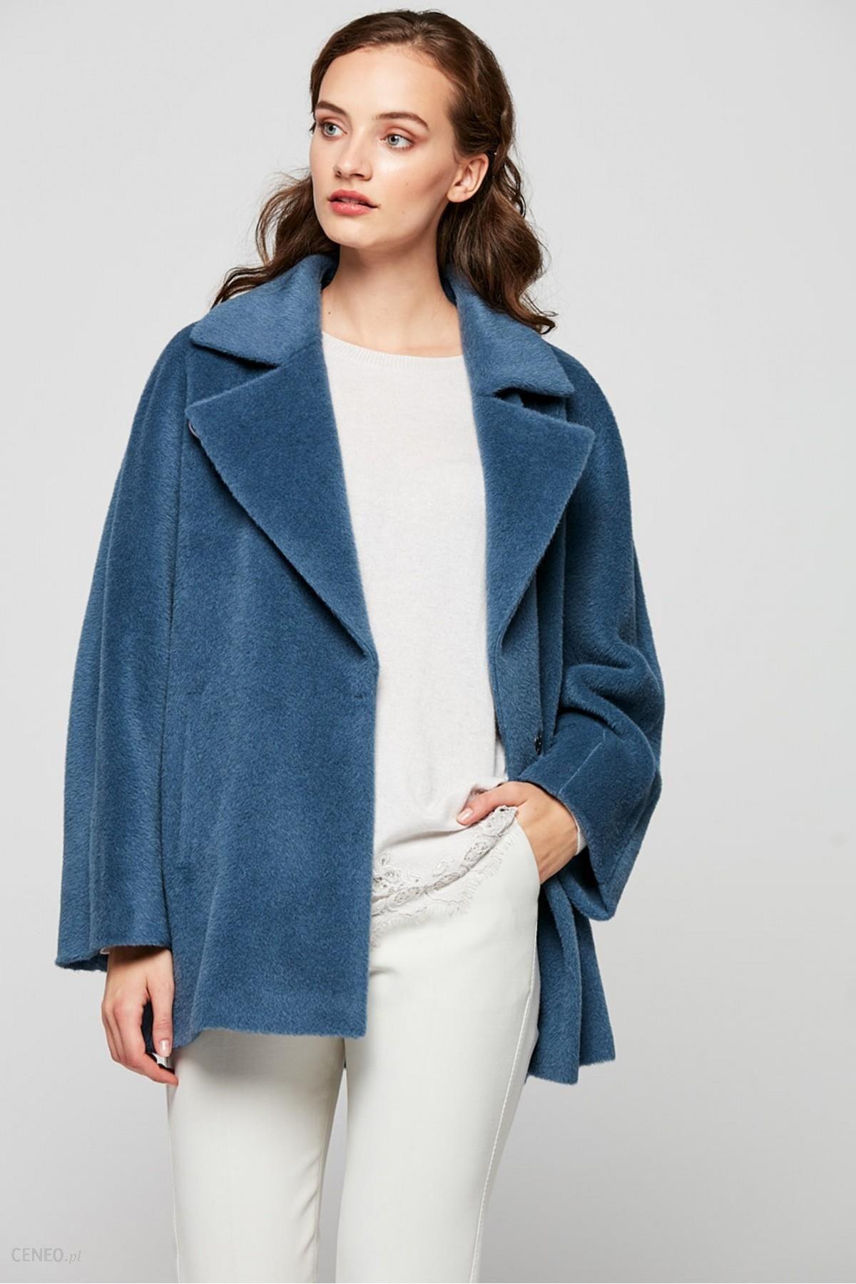 Płaszcz krótki kieszenie alpaka niebieski płaszcze sklep