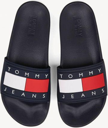 b5a56e8deaf15 Tommy Hilfiger niebieskie klapki Tommy Jeans Flag Pool Slide Black Iris - 40