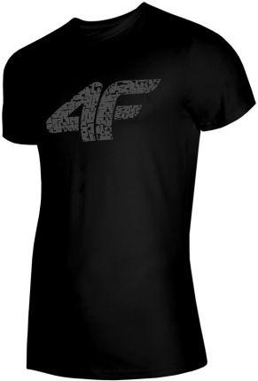 f207a97329e6f2 Koszulka z logo, t-shirt męski 4F TSM020, głęboka czerń H4L19