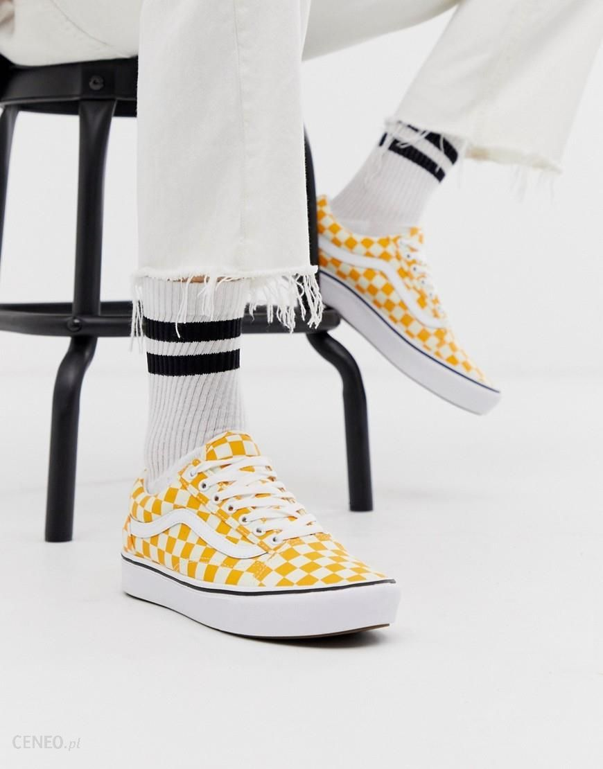 Vans ComfyCush Old Skool trainers in yellow checkerboard Yellow