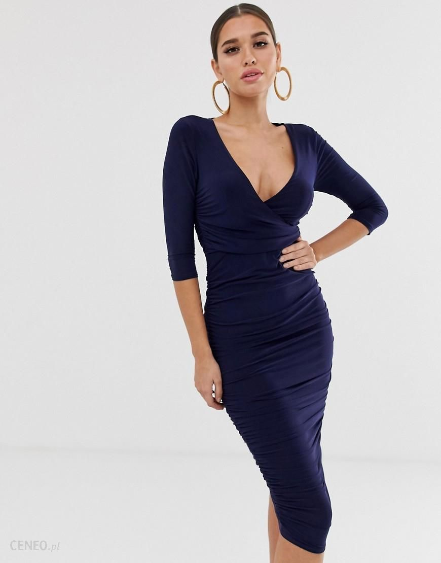 8fa859191 Koco & K soft touch plunge front all over ruched midi pencil dress in navy -
