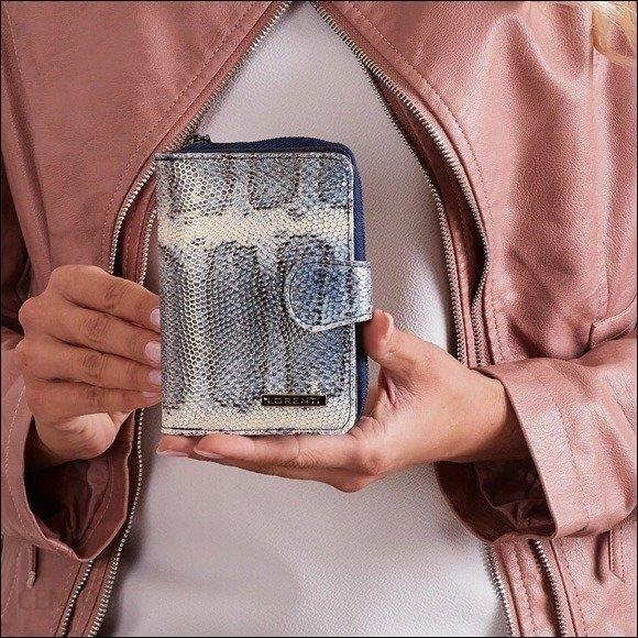 ce7659ca92249 Skórzany portfel damski wzór skóry węża niebieski Lorenti 76115 - niebieski  - zdjęcie 1