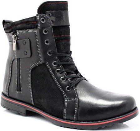 ecf9ca3c KENT 237 CZARNY+WELUR - Wysokie męskie buty zimowe ze skóry - Ceny i ...