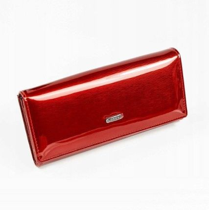 0c5316ce3aab1 Loren Skórzany portfel damski lakierowany czerwony Loren 72401 - Czerwony