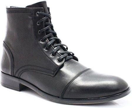 KENT 303 CZARNE Zimowe buty męskie, skóra Czarny Ceny