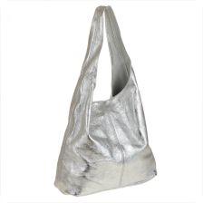 1b6df847136a9 Borse in Pelle Torebka worek skórzana shopper srebrna