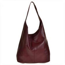 808eff27b6030 Real Leather Torebka damska skórzana worek w kolorze bordowym z kosmetyczką