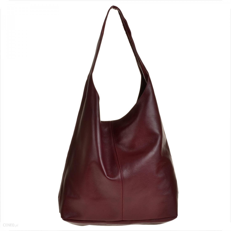 Real Leather Torebka damska skórzana worek w kolorze bordowym z kosmetyczką
