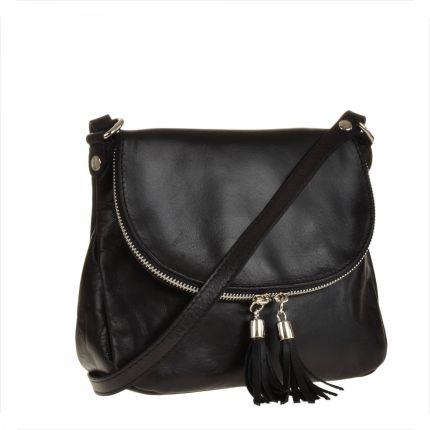 df0d2f8d925b0 Real Leather Lekka czarna listonoszka ze skóry naturalnej.