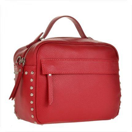 a491edb054153 Borse in Pelle Elegancka torebka listonoszka kuferek czerwona z ćwiekami