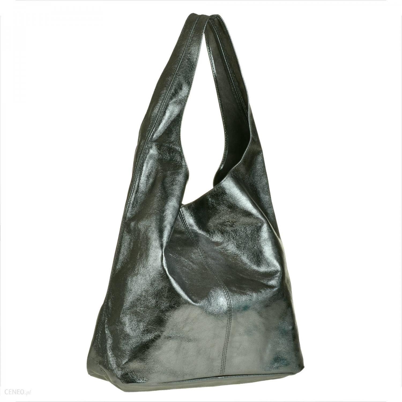 d56e0c074c65c0 Borse in Pelle Torebka worek skórzana shopper grafitowy metalik z połyskiem  - zdjęcie 1