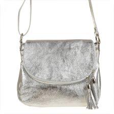 043ac0895fe52 Real Leather Lekka srebrna listonoszka ze skóry naturalnej.