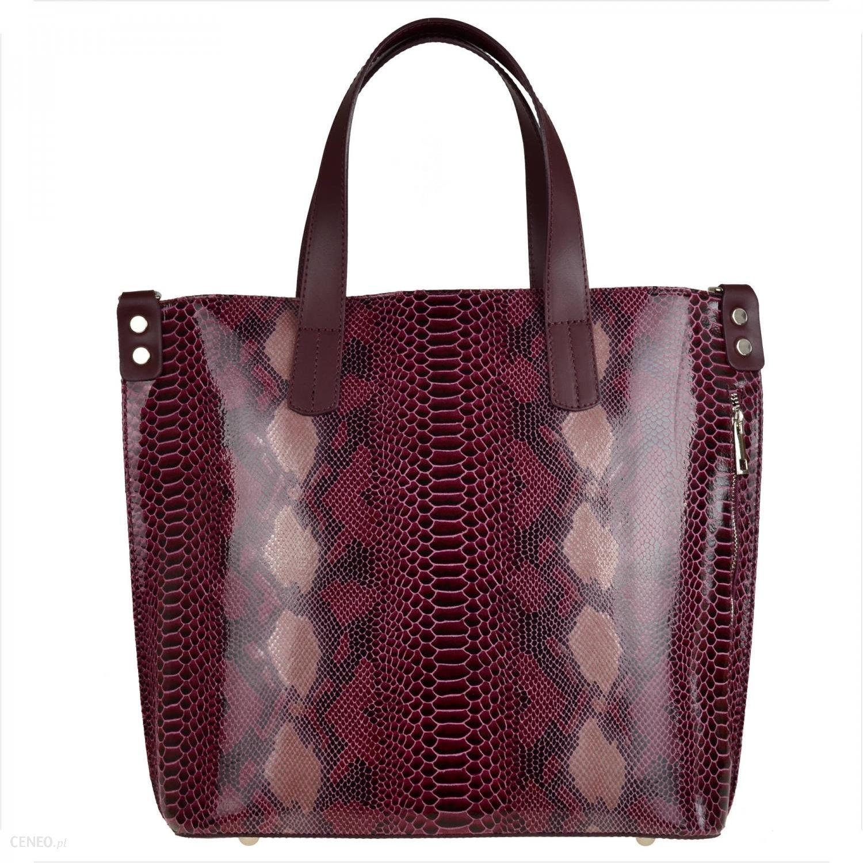 Skórzane torebki damskie, bordowa shopper bag