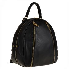 1fab793caf749 Borse in Pelle Czarny plecak damski ze skóry naturalnej ze złotymi zamkami