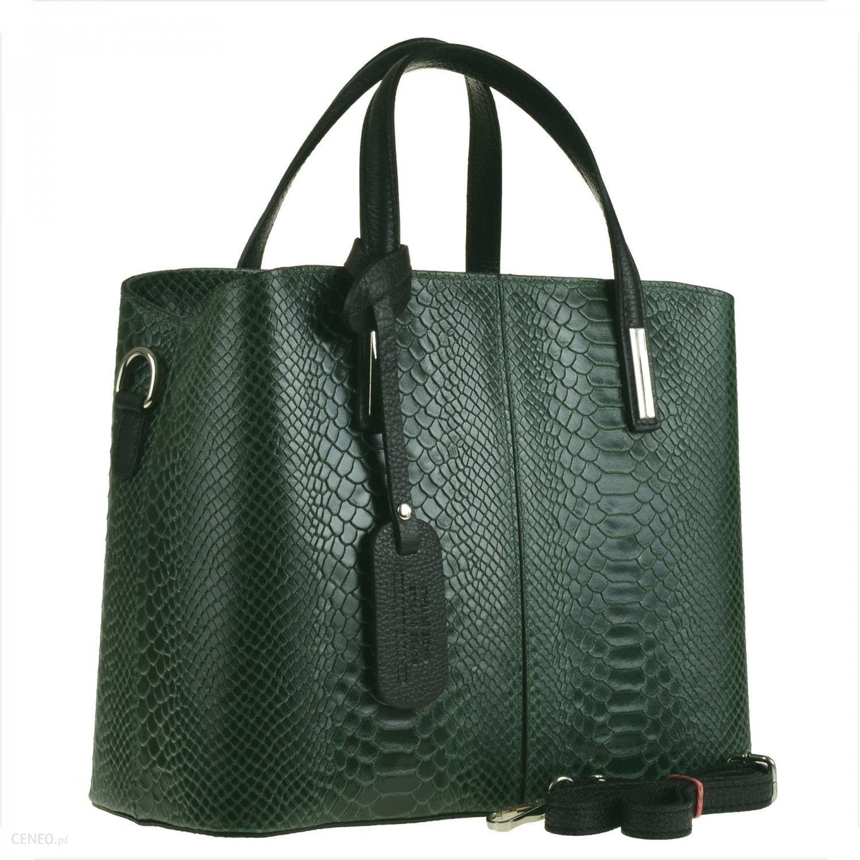 9062adbad8c68a Borse in Pelle Torebka skórzana kuferek wzór wężowej skóry zielona ...