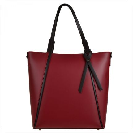 Genuine Leather Torebka shopper bag l bordowa