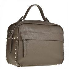 2bb63d26e5c Borse in Pelle Elegancka torebka listonoszka kuferek taupe, brąz z ćwiekami  - zdjęcie 1