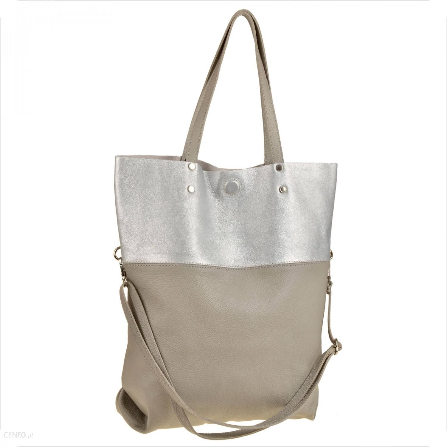 Genuine Leather Torba skórzana shopper bag popielato srebrna