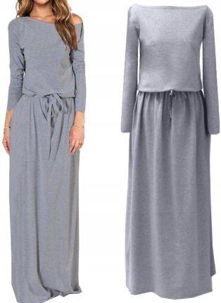 f8aee61621 Sukienka Maxi Kobieca Modna Gumka W Pasie Wiązanie Allegro