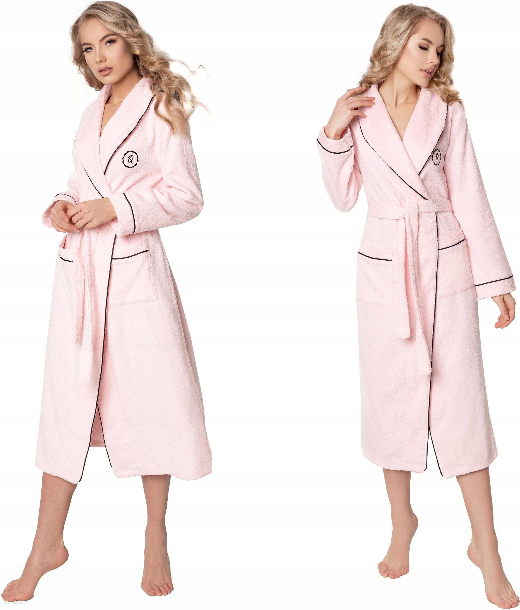 Szlafrok damski z kieszeniami wiązany w kolorze różowym, praktyczny i stylowy płaszcz kąpielowy