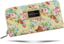 d172dc6aa3988 Włoskie Portfele Damskie w rozmiarze XL w motyw kwiatów renomowanej marki  Diana Co Żółte (kolory) ...