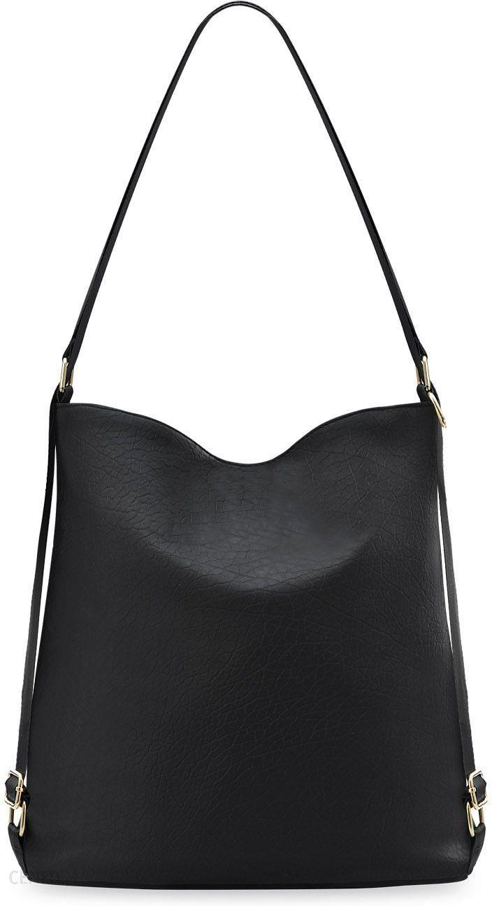 e639a49028bff Wytrzymała torebka damska worek 2w1 torebko-plecak szeroki pasek - czarny -  zdjęcie 1