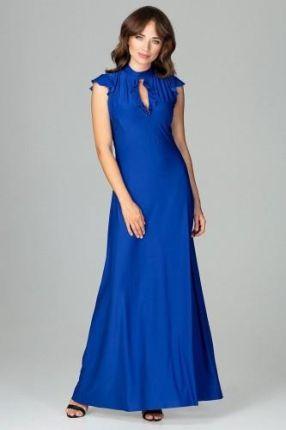 aa32fd08d6ad Długa sukienka z delikatną falbanką przy rękawkach i łezce na dekolcie